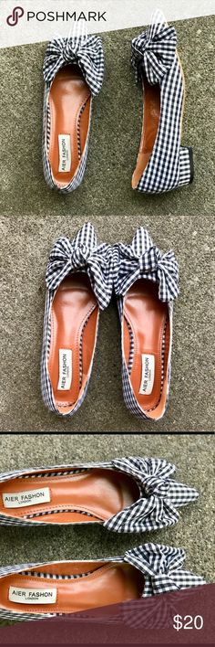 db131e4276489 Gingham knotted bow pointed toe ballet flats Never been worn. Super cute 1 2