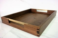 Hepburn Tray in Black Walnut and Brass. By The Wooden Palate Serving Tray Wood, Wood Tray, Wooden Bowls, Woodworking Workshop, Woodworking Plans, Woodworking Projects, Wooden Tool Boxes, Small Wood Projects, Tea Tray