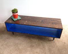 Coffee Table-Handmade Mid Century Modern COBALT and CHOCOLATE  Brown (or custom color) Coffee Table Furniture