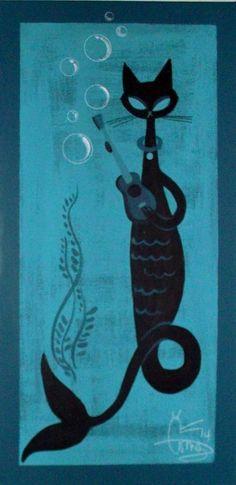 EL GATO GOMEZ PAINTING RETRO 1950S TIKI BAR MERMAID CAT POLYNESIAN POP HULA GIRL in Paintings | eBay