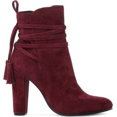 Steve Madden Glorria suede ankle boots ($105) ❤ liked on Polyvore featuring shoes, boots, ankle booties, ankle boots, lace up high heel booties, faux suede booties, suede ankle booties and lace up ankle boots