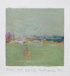 Nov. 27, 2016 - Original Abstract Oil Painting - 9x9 painting (9 x 9 cm - app. 4 x 4 inch) with 8 x 10 inch mat
