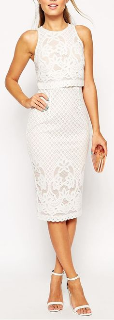 lace crop top pencil dress