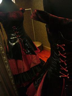 Red and Black Black Gothic Wedding Dress by WeddingDressFantasy.com #gothic #wedding #dress