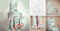 Хочу представить вам мастер-класс по созданию сидячего котика Тильда в стиле шебби-шик. Для котика нам понадобятся: ткань (хлопок); выкройка; синтепух или холлофайбер; пуговицы; нитки; нитки мулине (для оформления мордоки и лапок); ножницы; для украшения (шебби ленты, бусины, подвеска ключик, бумажные цветы); английские булавки; швейная