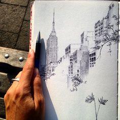 #drawanyway- sketchbook page, #NewYorkCity