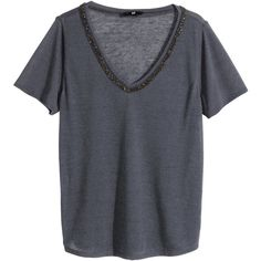 H&M Beaded top (42 BRL) ❤ liked on Polyvore featuring tops, dark grey, v neck top, beaded top, v neck jersey, v neck jersey top and v-neck jersey