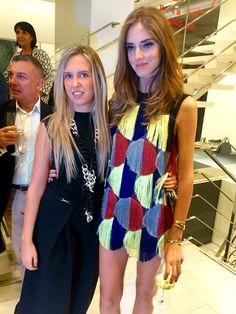 Actress Giorgia Marin and international fashion blogger Chiara Ferragni attend the Gio Moretti's cocktail during the 2015 Milan Fashion Week.