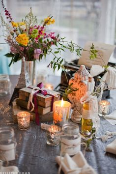 Vintage books as wedding decor
