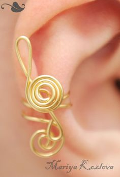 No Piercing Treble Clef Gold Color Cartilage ear cuff  by KOZLOVA, $8.45  Well isn't that fancy?