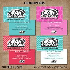 Advocare Fun Business Card design, 500 Full Color professionally printed cards, bright, polka dots, chevron print