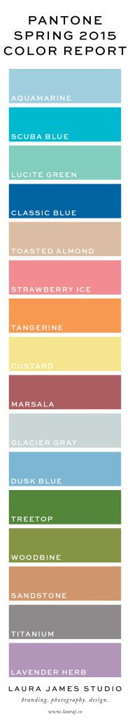 "** Pantone Spring 2015 Colors ** (Note: This came from a Pinterest Board called, ""Fashion Trends for S/S 2015"", Lots of Possible Inspiration Photos!, Direct Link to Pg = https://www.pinterest.com/tehillahm/2015-fashion-trends/ )"