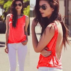 Scoop Backless Pure Color Sleeveless Sexy Vest