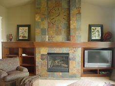 Another well done slate tile, floor to ceiling surround.  Slate Tile Fireplace Surround Design Ideas, Pictures, Remodel and Decor