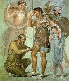 Iapyx removing arrowhead from Aeneas - Pompeii.