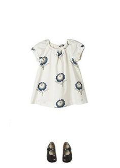 Ecru dress with blue flowers in @BONPOINT spring summer 2014 collection. #beige #ecru #bonpoint #SS14 #spring #summer #springsummer2014 #childrens #kids #childrenswear #kidswear #kidsfashion #girls #boys