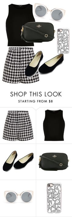 """Black and White"" by riljeep on Polyvore featuring Emma Cook, River Island, Coach, Erdem and Casetify"
