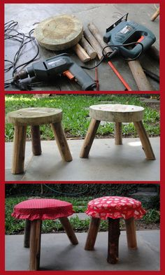 Tree Furniture, Furniture Upholstery, Diy Wood Projects, Woodworking Projects, Gutter Garden, Flower Painting Canvas, Kids Stool, Wooden Stools, Garden Table
