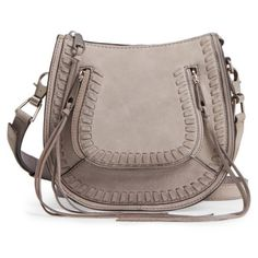 Women's Rebecca Minkoff Mini Vanity Saddle Bag (£210) ❤ liked on Polyvore featuring bags, handbags, shoulder bags, grey, grey crossbody purse, cross-body handbag, grey crossbody, gray crossbody purse and crossbody shoulder bag