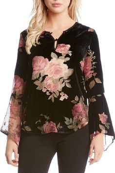 Shop the latest collection of Karen Kane Floral Velvet Burnout Top from the popular stores - all in one Floral Chiffon, Chiffon Tops, Cute Summer Shirts, Dress For Petite Women, Tank Top Dress, Estilo Fashion, Sexy Shirts, Velvet Tops, Long Blouse