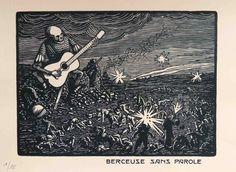 Berceuse sans parole/Lullaby without words, Louis Moreau, 1914/1918 World War I, wood engraving