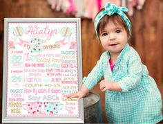 SALE Tea Party White background Birthday chalkboard Party chalk board milestone poster banner sign for a girl teal matte pink light (178)