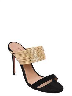 534763d21 AQUAZZURA | 105MM RENDEZ VOUS SUEDE SANDALS - Black/Gold. 105mm Suede  covered heel