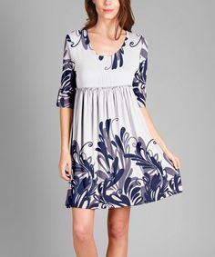 Look what I found on #zulily! Blue & White Empire-Waist Tunic - Plus #zulilyfinds