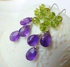 Amethyst and Peridot silver earrings. Purple Amethyst. by TatianaG