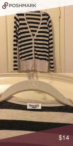 Splendid striped cardigan Long sleeve cardigan by Splendid. The fabric is 100% cotton. The color is charcoal gray and oatmeal. Super soft. Splendid Sweaters Cardigans