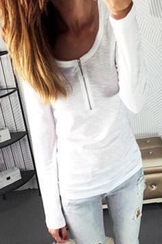 Trendy White Scoop Neck Zippered Long Sleeve T-Shirt For WomenT-Shirts   RoseGal.com