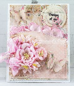 Shabby Chic Thinking of You Card by AMermaidsCrafts on Etsy