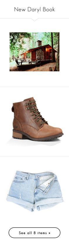 """""""New Daryl Book"""" by blaizeg ❤ liked on Polyvore featuring shoes, boots, brown, brown leather boots, leather hiking boots, brown boots, ugg boots, ugg, shorts and bottoms"""