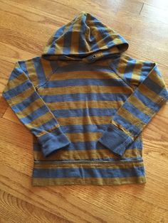Crewcuts Boys Long Sleeve Hooded Shirt Size 4 5 4T 5T Gray Stripes J Crew | eBay