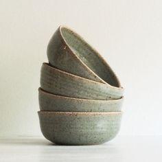 Handmade Pottery Soup Bowl, Stoneware Ceramic Bowl, Salad bowl, Blue Gray Bowl, Green Bowl, Wedding gift, Rustic Dishes