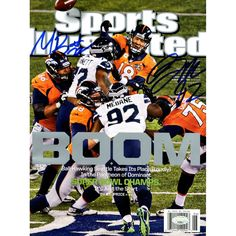 Michael Bennett & Brandon Mebane Dual Signed Sports Illustrated Magazines (Mill Creek Holo) - Michael Bennett & Brandon Mebane each personally hand-signed this Sports Illustrated from the Seahawks Super Bowl Victory over the Denver Broncos. They blew out the Broncos in a tremendous upset in MetLife Stadium in NJ. This autograph is guaranteed authentic by Mill Creek Sports. Gifts > Collectibles > Nfl Memorabilia. Weight: 1.00