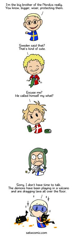 Scandinavia and the World ~ Big Brother Sweden Funny Photos, Funny Images, Satw Comic, Fun Comics, Hetalia, Have Time, Finland, Norway, Hilarious