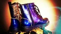 Combat Prom Queen Studded Holographic Boots by kaylastojek on Etsy