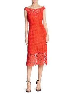 KAY UNGER Boat Neck Floral Lace Sheath Dress. #kayunger #cloth #dress