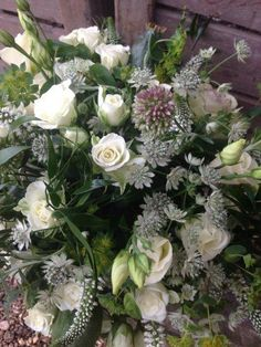 Astrantia (small grey/white flower) Veronica (white spiked flower) and Lisianthus all available