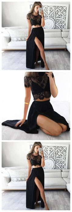 Black Lace Two Pieces Short Sleeve Sexy Side Slit Long Prom Dress, WG523