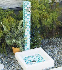 ガラス製モザイクタイルでカジュアルに。立水栓 モゼック+パンセット モザイクタイルの外流し ガーデン向け水栓柱ユニット 送料無料