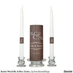 Rustic Wood Mr. & Mrs. Custom Wedding Unity Candle Set Floating Candles Wedding, Candle Wedding Centerpieces, Pillar Candles, Unity Candle Holder, Candle Set, Wedding Pillars, Wedding Ceremony, Reception, Diwali Fireworks