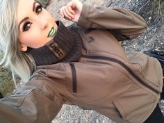 The Scarf and the Jacket look perfect on the beautiful Design by Jessica Nigri Cosplay, Halo Collection, Promotional Model, Look Fashion, Military Jacket, Hooded Jacket, Rain Jacket, Windbreaker, Couture