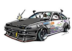 "car illustration""crazy car art""jdm  japanese old school ""AE86 TRUENO""original characters ""mame mame rock""   /   © ozizo ""Crazy Car Art"" Line stichersLINE STOREhttp://line.me/S/shop/sticker/author/92016"