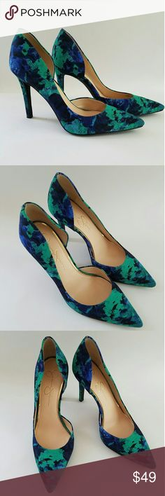 Jessica Simpson Claudette D'orsay High Heel Pumps Jessica Simpson Claudette D'orsay High Heel Pumps.  Blue Green Floral print. Fabric uppers. Cut out curved sides. Padded insole.  4 inch heels. Pointy toe.  From casual to dressy. Classy classic. Never worn. Jessica Simpson Shoes Heels