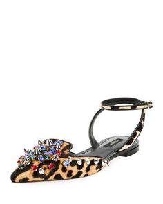 X3HQE Dolce & Gabbana Jeweled Calf Hair Ankle-Wrap Flat, Leopard