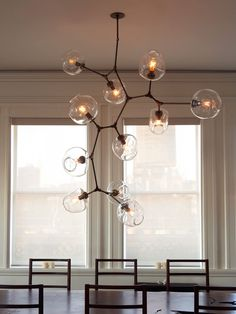 Custom 11-globe Branching Bubble chandelier in oil-rubbed bronze with clear globes.
