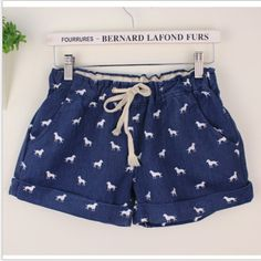 Special summer 2014 Korean version of the hot denim shorts shorts Korean ladies oversized beach khaki pants, blue lace # 8162