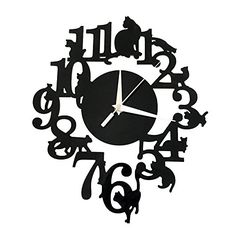 Clock Saat Wall Clock Duvar Saati Reloj Home decor Wall Clocks Horloge Murale Relogio de parede Klok Orologio da parete Green Wall Clocks, Best Wall Clocks, Mirror Wall Clock, Unique Clocks, Antique Interior, Wall Waterproofing, Melting Clock, Black Cat Silhouette, Silhouette Cameo